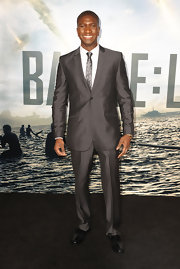 Adetokumboh looked dapper at the premeire of 'Battle: Los Angeles' in a sleek gray suit and matching tie.