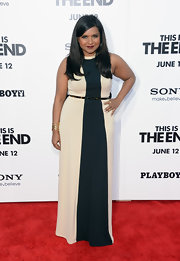 Mindy Kaling chose a nude and black color-blocked maxi dress for her look at the premiere of 'This Is The End.'