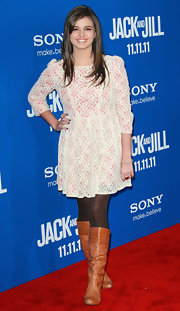 Rebecca Black wore a white lacy cocktail dress with a pink underlay for the 'Jack and Jill' premiere.