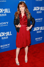 Jane Seymour looked ravishing in a red cocktail dress with a ruffled bodice at the premiere of 'Jack and Jill.'