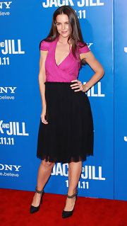 Katie Holmes looked chic at the 'Jack and Jill' premiere with black pumps complete with trendy ankle straps.