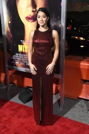 Gina Rodriguez was a gem in a red sequined column dress by Julien Macdonald at the premiere of 'Miss Bala.'