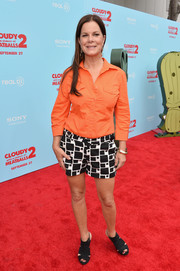 Marcia Gay Harden looked relaxed in an orange button-down and patterned shorts at the premiere of 'Cloudy with a Chance of Meatballs 2.'