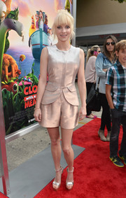 Anna Faris looked chic and cute in an iridescent short suit by Emporio Armani at the premiere of 'Cloudy with a Chance of Meatballs 2.'