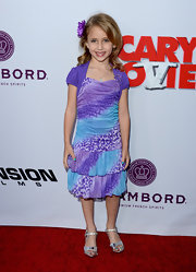 Ava Kolker looked adorable and stylish in a blue and purple leopard-print, tiered dress.