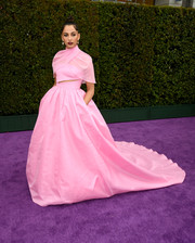 Naomi Scott was a vision in a pink Brandon Maxwell gown with a slashed bodice, capelet detailing, and a voluminous skirt at the premiere of 'Aladdin.'