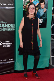 Judith Viorst went for a '20s feel in a black ruffle-hem shift dress styled with a floral lariat necklace at the premiere of 'Alexander and the Terrible, Horrible, No Good, Very Bad Day.'