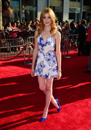 Katherine McNamara looked all set for summer in her swingy blue and white L'atiste romper during the premiere of 'The BFG.'