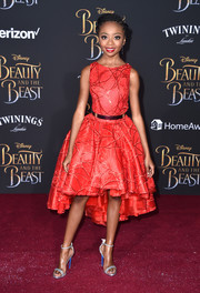 Skai Jackson polished off her look with silver ankle-strap sandals by Loriblu.