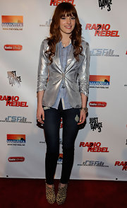A silver blazer gave Bella's look a futuristic feel at the 'Radio Rebel' premiere.