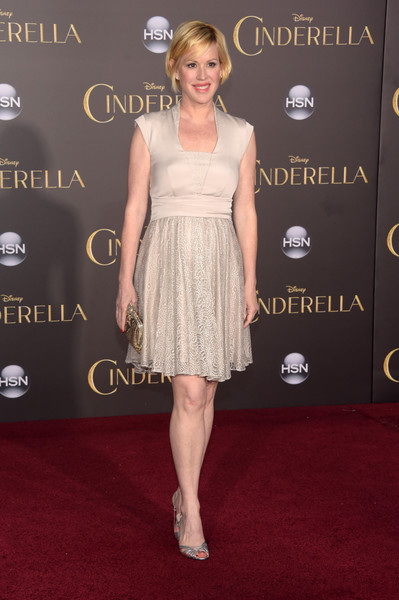 Molly Ringwald chose a nude cocktail dress with a lacy skirt for the Hollywood premiere of 'Cinderella.'