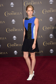 Cody Horn looked very modern in a patchwork mini dress during the Hollywood premiere of 'Cinderella.'