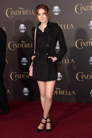Karen Gillan flaunted plenty of leg in a short black Burberry trenchcoat during the Hollywood premiere of 'Cinderella.'