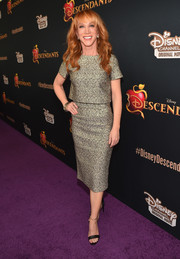 Kathy Griffin attended the 'Descendants' premiere wearing a boxy gold top.