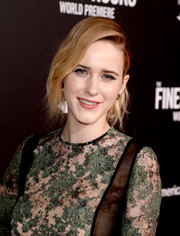 Rachel Brosnahan styled her hair into a loose side chignon for the premiere of 'The Finest Hours.'