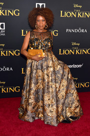 Alfre Woodard's Badgley Mischka gown at the premiere of 'The Lion King' was a gorgeous work of art with its beaded bodice and brocade skirt.