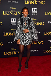 Kelly Rowland was on theme in a zebra-print jacket and dress combo by Prabal Gurung at the premiere of 'The Lion King.'