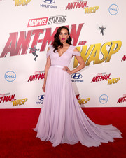 Hannah John-Kamen had a princess moment at the premiere of 'Ant-Man and the Wasp' in this flowing lavender cold-shoulder gown by Jason Wu.
