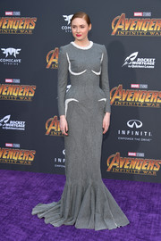 Karen Gillan made a grand entrance in a pearl-embellished gray mermaid gown by Thom Browne at the premiere of 'Avengers: Infinity War.'