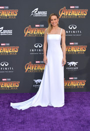 Brie Larson kept it minimal yet sophisticated in a flowing white slip gown by Carolina Herrera at the premiere of 'Avengers: Infinity War.'