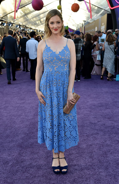 More Pics of Judy Greer Sundress (2 of 6) - Dresses & Skirts Lookbook - StyleBistro [guardians of the galaxy vol. 2,red carpet,clothing,dress,blue,cobalt blue,fashion,premiere,electric blue,flooring,carpet,red carpet,judy greer,dolby theatre,california,hollywood,disney,marvel,premiere,premiere]