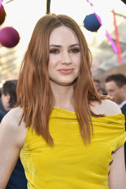 Karen Gillan opted for a subtly wavy, center-parted hairstyle when she attended the premiere of 'Guardians of the Galaxy Vol. 2.'
