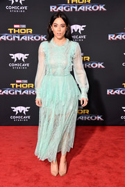 Chloe Bennet went the dainty route in a baby-blue lace midi dress by Maria Lucia Hohan at the premiere of 'Thor: Ragnarok.'