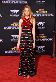 Lydia Hearst was modern and vibrant in an Emporio Armani print gown with a strappy neckline at the premiere of 'Thor: Ragnarok.'