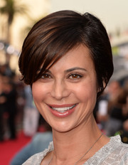 Catherine Bell topped off her look with a cute short side-parted  'do during the 'Muppets Most Wanted' premiere.