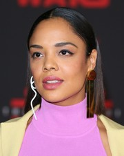 Tessa Thompson rocked mismatched statement earrings by Solace London.