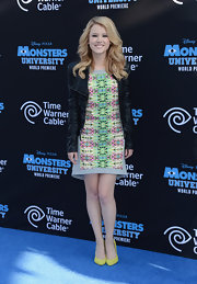 Taylor Spritler sported a cool and colorful kaleidoscopic-print dress for the 'Monsters University' premiere.