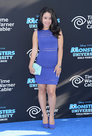 Cierra Ramirez chose a purple bandage dress for her fun and flirty look at the 'Monsters University' premiere.