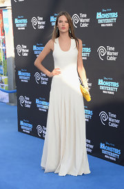 Alessandra opted for a simple white flowing maxi dress for the 'Monsters University' premiere.
