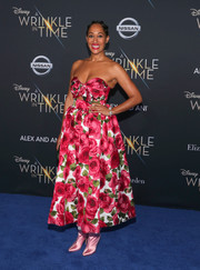 Tracee Ellis Ross was a total charmer in a strapless, sweetheart-neckline floral dress by Michael Kors at the premiere of 'A Wrinkle in Time.'