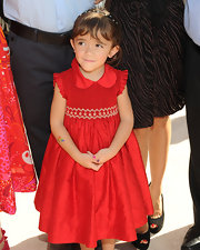 Valentina Paloma Pinault was demure and darling in her pretty red dress.