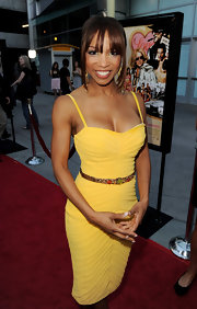 Elise Neal showed off her yellow cocktail dress while hitting the 'Love Ranch' premiere.
