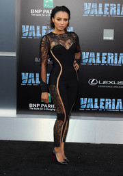 Kat Graham looked racy in a black lace-panel catsuit by La Perla at the premiere of 'Valerian and the City of a Thousand Planets.'