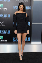 Kendall Jenner worked a deconstructed-chic off-the-shoulder LBD by Carmen March at the premiere of 'Valerian and the City of a Thousand Planets.'
