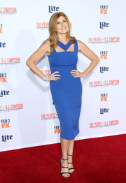 Connie Britton was trendy in a royal-blue cutout dress during the premiere of 'American Crime Story: The People v. O.J. Simpson.'