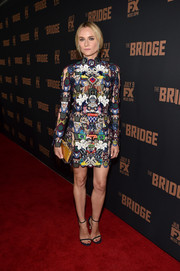 Diane Kruger showed off her unique style with this busy-looking Mary Katrantzou mini, embroidered all over with traffic signs, during the premiere of 'The Bridge.'