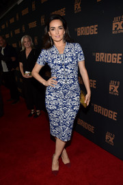 Ana De La Reguera stepped out in a classic blue and white print dress with a matching cardigan during the premiere of 'The Bridge.'
