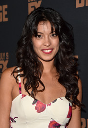 Stephanie Sigman left her hair loose in a cascade of curls when she attended the premiere of 'The Bridge.'
