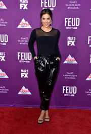 Liz Hernandez hit the premiere of 'Feud: Bette and Joan' wearing a fitted sheer-panel top.