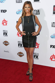 Charisma Carpenter paired an embellished top with a leather mini skirt for a fab finish at the premiere of 'Sons of Anarchy' season 6.
