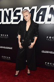 Pom Klementieff opted for a bold-shouldered pantsuit by Chanel when she attended the premiere of 'BlacKkKlansman.'