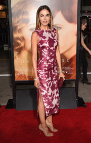 Camilla Belle went for ultra-feminine appeal in a fuchsia floral shadow-print dress by Prabal Gurung at the premiere of 'The Danish Girl.'