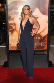 Elisabeth Rohm sizzled in a navy pinstripe jumpsuit with a down-to-the-navel plunge during the premiere of 'The Danish Girl.'