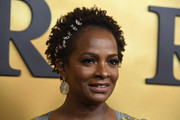 Vanessa Bell Calloway wore a short curly 'do, which she adorned with some gold pins, at the premiere of 'Harriet.'
