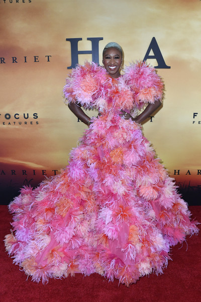 More Pics of Cynthia Erivo Princess Gown (1 of 19) - Dresses & Skirts Lookbook - StyleBistro [premiere of focus features,pink,dress,fashion,peach,textile,feather boa,plant,flower,haute couture,fashion design,arrivals,harriet,cynthia erivo,california,los angeles,the orpheum theatre,focus features,premiere]