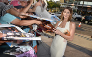 Ashley Greene paired a geometric gold hard-case clutch with a sexy LWD for an ultra-modern look during the premiere of 'Wish I Was Here.'